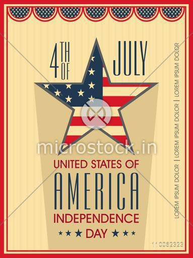Vintage poster, banner or flyer with star in national flag colors for 4th of July, American Independence Day celebration.
