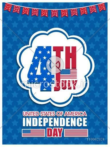 National flag colors poster, banner or flyer design with text 4th July for American Independence Day celebration.