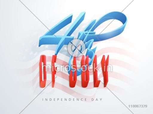 Poster, banner or flyer with 3D text 4th of July on national flag waves background for American Independence Day celebration.