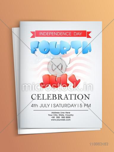 Beautiful Greeting Or Invitation Card Design With Envelope For 4th Of July American Independence Day Celebration