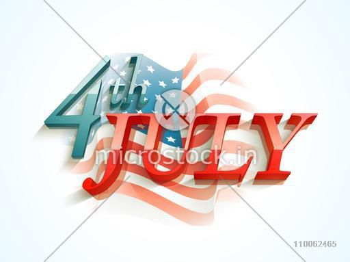 3d glossy text 4th of july on national flag waves background for american independence day celebration
