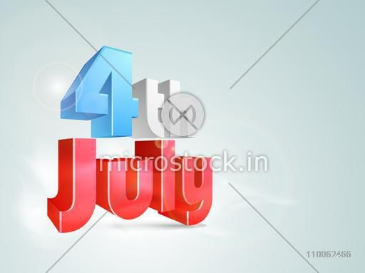3D glossy text 4th of July in national flag color on shiny sky blue background for American Independence Day celebration.