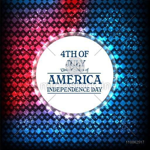 Glossy sticky design on shiny national flag colors background for 4th of July, American Independence Day celebration.