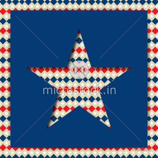 American Independence Day celebration with beautiful creative star on blue background.