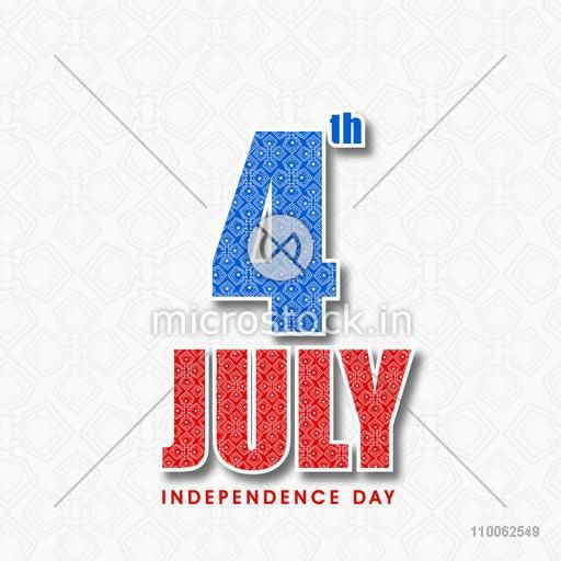 Floral design decorated text 4th July in national flag colors on seamless background for American Independence Day celebration.