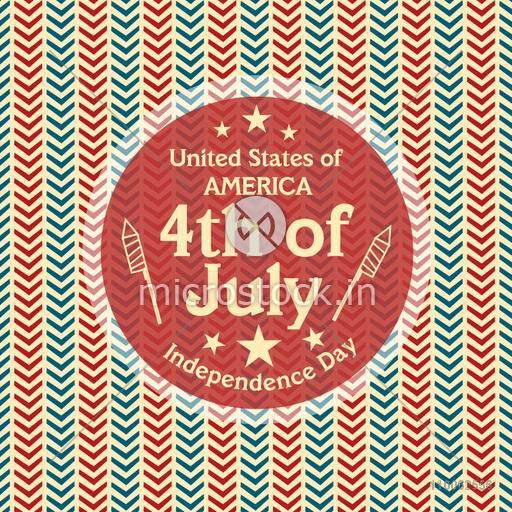 4th of July, American Independence Day celebration with stylish sticky design on seamless background.