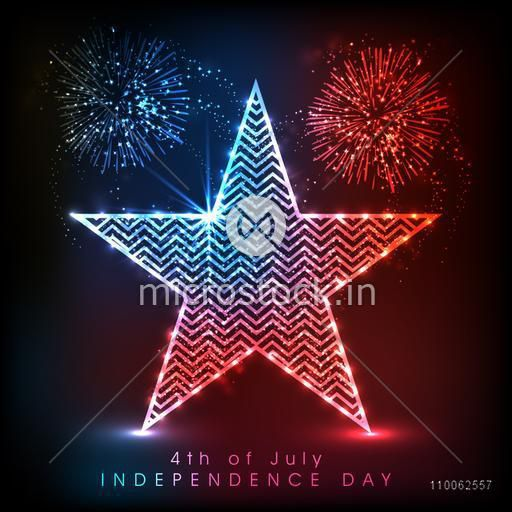 Glossy star in American national flag colors with fireworks for 4th of July, Independence Day celebration.