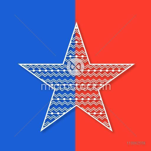 American Independence Day celebration with creative star on national flag colors background.