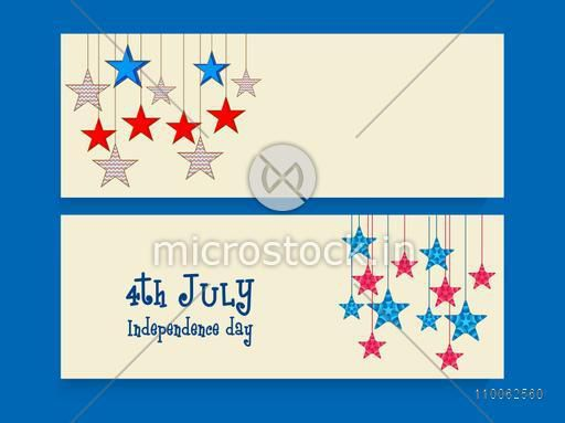 Blank website header or banner set decorated with stars for 4th of July, American Independence Day celebration.