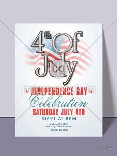 Stylish invitation card design with national flag for 4th of July, American Independence Day party celebration.