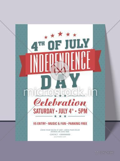 Stylish invitation card design for 4th of July, American Independence Day party celebration.