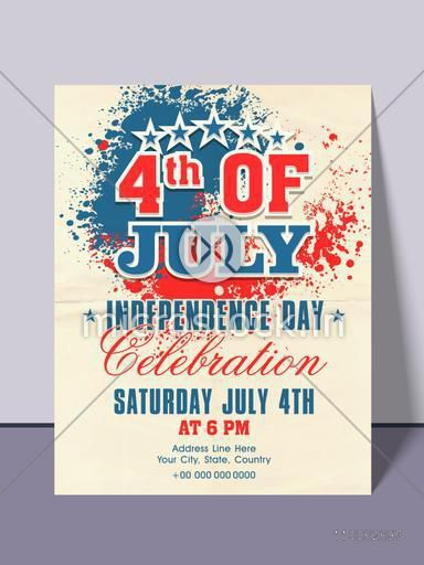 Beautiful invitation card design with national flag colors splash for 4th of July, American Independence Day party celebration.