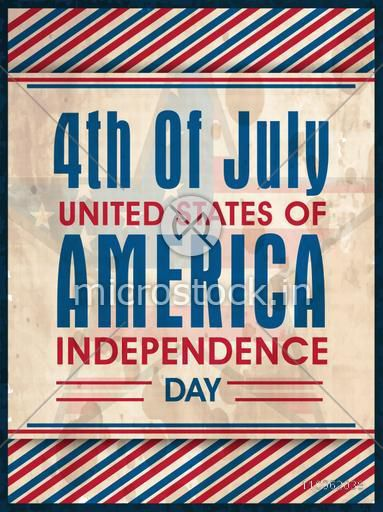 National flag colors vintage poster, banner or flyer on star decorated background for American Independence Day celebration.