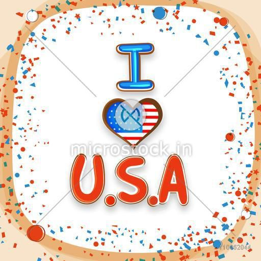 American Independence Day celebration with stylish text I Love U.S.A in national flag colors.