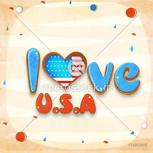 Stylish text Love U.S.A in national flag colors for American Independence Day celebration.
