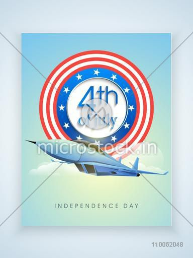 Glossy missile with stylish badge for 4th of July, American Independence Day celebration on beautiful cloudy background.