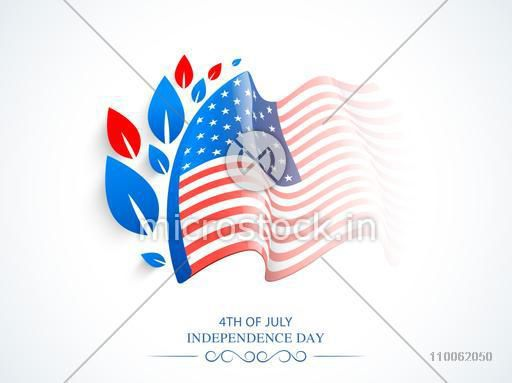 Glossy waving American national flag design with red and blue leaves for 4th of July, Independence Day celebration.