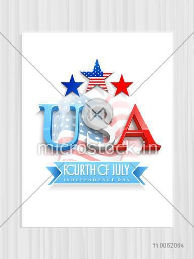 3D text USA with stars on waving national flag background, Elegant pamphlet, banner or flyer for Fourth of July, American Independence Day celebration.