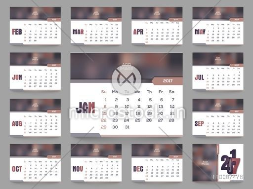 2017 year calendar planner design with space to add your images