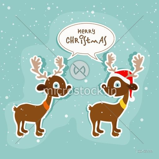 Illustration of cute Reindeer couple wishing to each others on winter background for Merry Christmas celebration.
