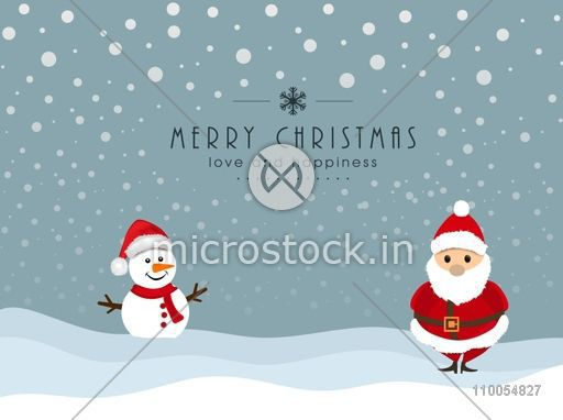 Christmas Celebration Cartoon Images.Cute Cartoon Of Snowman In Santa Hat And Santa Claus On Winter Background For Merry Christmas Celebration With Message