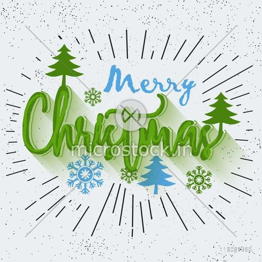 Christmas Lettering.Merry Christmas Lettering Design With Xmas Tress And Snowflakes Creative Abstract Background With Burst