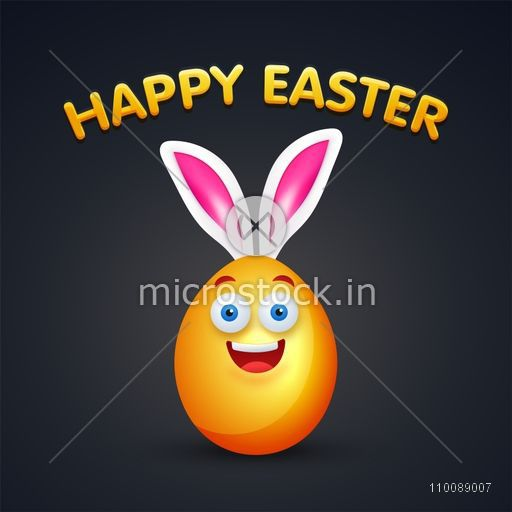 Happy golden egg with bunny ears for Happy Easter celebrations.