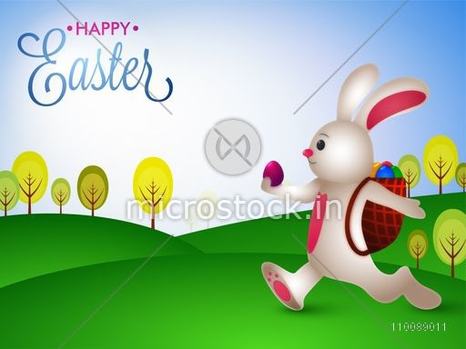Cute bunny carring eggs in his bag, Happy Easter Background.