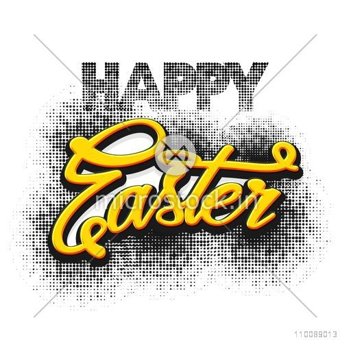 Happy Easter background in halftone style.