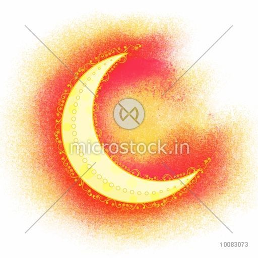 Beautiful Glossy Crescent Moon On Creative Abstract Colour Splash