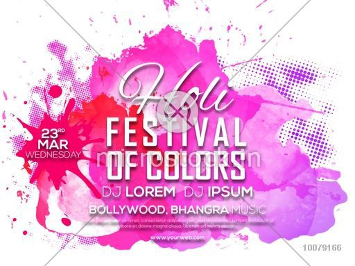 Indian Festival Of Colours Happy Holi Celebration Invitation Card Design With Pink Splash