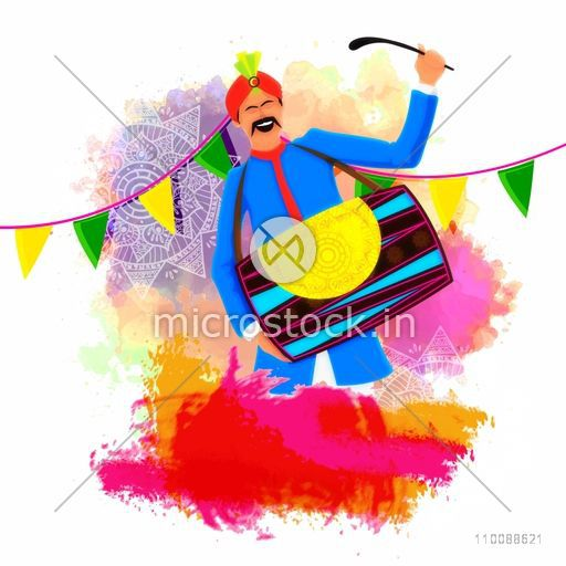 Young Man playing drum on buntings decorated colorful background for Indian Festival, Happy Holi celebration.