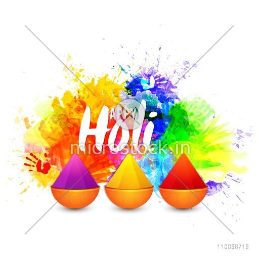 Dry Colors in glossy pots on abstract colorful background for Indian Festival, Happy Holi celebration.