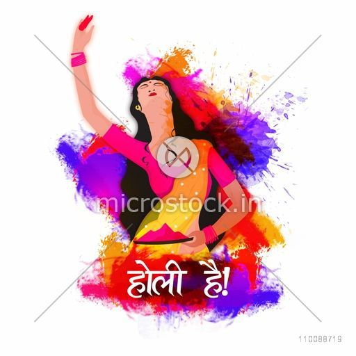 Creative illustration of a young woman with colors on abstract splash background for Indian Festival, Happy Holi celebration.