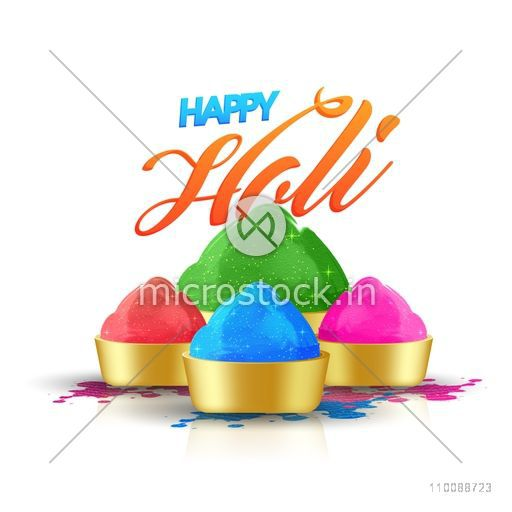 Glossy Golden Bowls full of dry colors for Indian Festival, Happy Holi celebration.