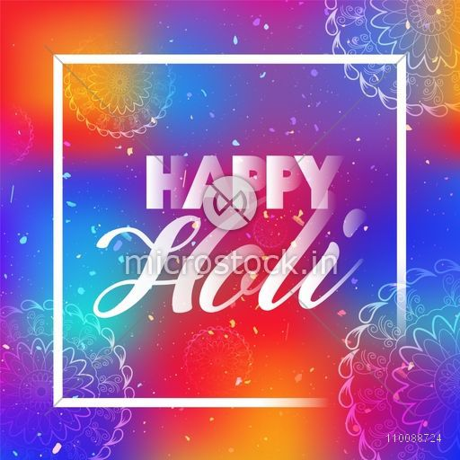 Creative Text Happy Holi on beautiful floral design decorated colorful background. Elegant poster, banner design for Indian Festival celebration.