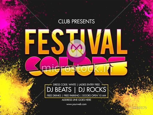 Indian Festival of Colors, Holi celebration Dj Party Poster, Banner design with dry color powder (Gulal) explosion.