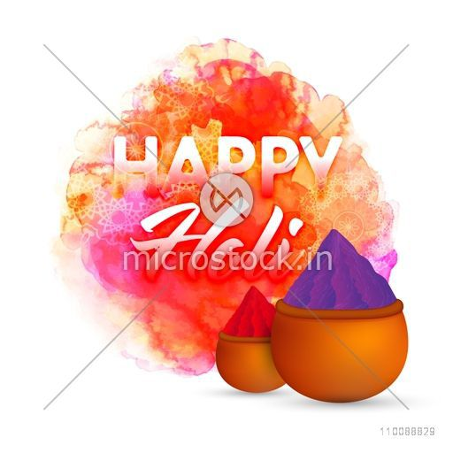 Creative text Happy Holi with dry powder colors (Gulal) in mud pots on abstract colorful background for Indian Festival celebration concept.