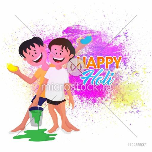 Cute little boys playing with colors on occasion of Indian Festival, Happy Holi celebration.