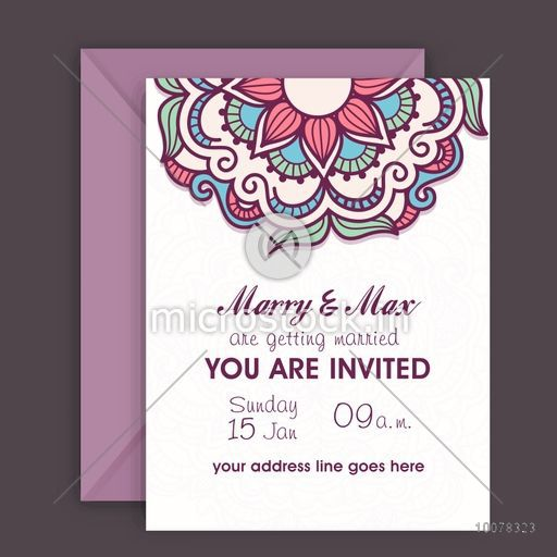Floral decorated beautiful wedding invitation card design with floral decorated beautiful wedding invitation card design with envelope stopboris Image collections