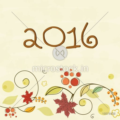 Beautiful floral design decorated greeting card for Happy New Year ...