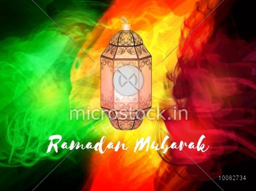Traditional glossy lamps on colourful abstract background beautiful traditional glossy lamps on colourful abstract background beautiful greeting card design for islamic holy month m4hsunfo