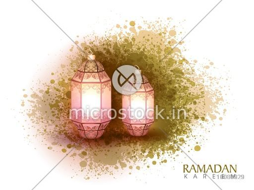 Floral design decorated, Glossy Lamps on abstract colour splash background for Islamic Holy Month of Prayer, Ramadan Kareem celebration.