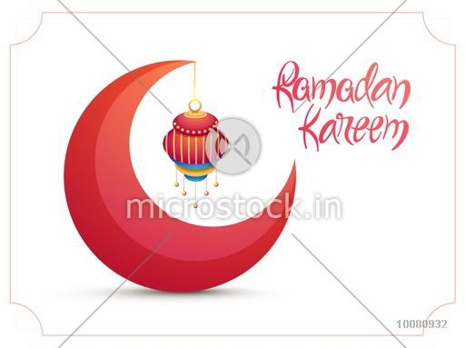 Creative 3D Crescent Moon With Hanging Lamp On Shiny Background For Islamic Holy Month Of Prayer