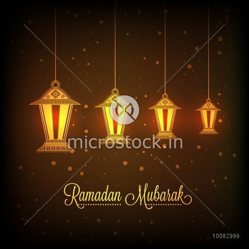 Beautiful glowing hanging lamps on shiny brown background for Holy Month of Muslim Community Festival, Ramadan Kareem celebration.
