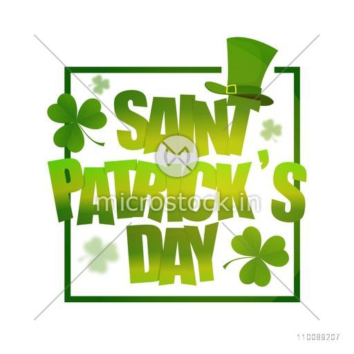 Glossy Green Saint Patrick's Day lettering design with shamrock leaves and leprechaun hat.