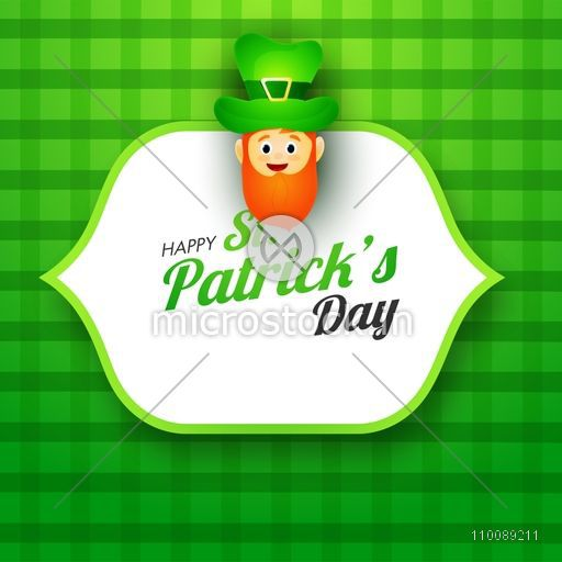 Happy St. Patrick's Day celebration sticker, tag or label design with leprechaun face on shiny green background.