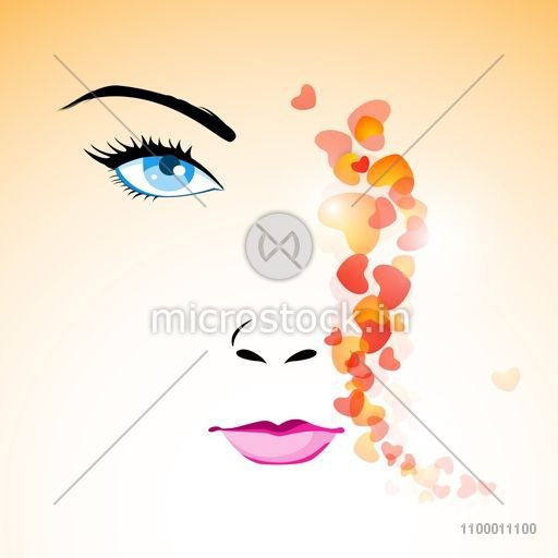 Happy Womens Day Greeting Card Or Background With Portrait Of A Beautiful Women