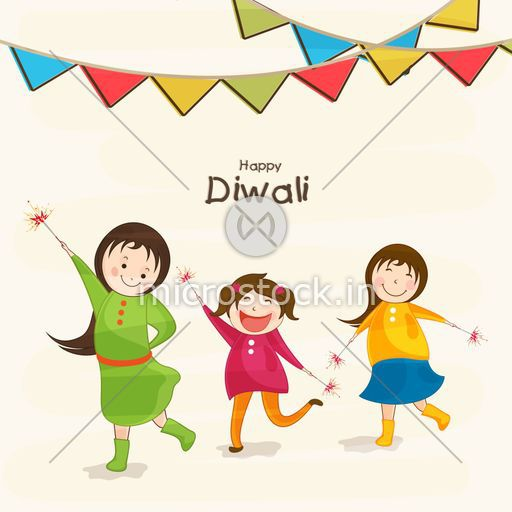 Cute Happy Kids Celebrating Diwali With The Crackers On White Background