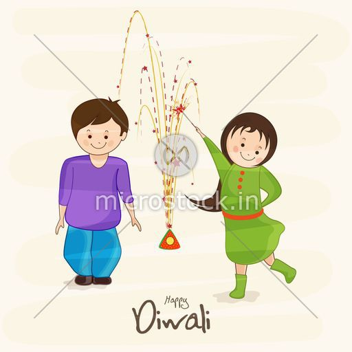 Cute Happy Kids Playing With Crackers On Diwali Occasion White Background